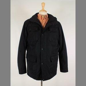 Tumi L Black Hooded Full Zip Polyester Coat